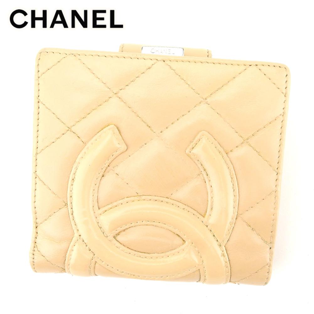 dc080b407d6d 【中古】 シャネル CHANEL がま口 財布 二つ折り 財布 レディース カンボンライン ベージュ レザー 人気 セール