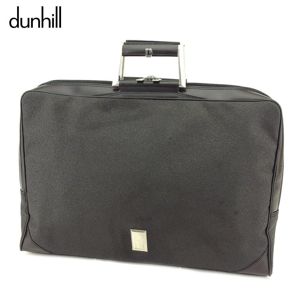 【中古】 ダンヒル dunhill ビジネスバッグ ブリーフケース メンズ  ブラック PVC×レザー 美品 セール T9055 .