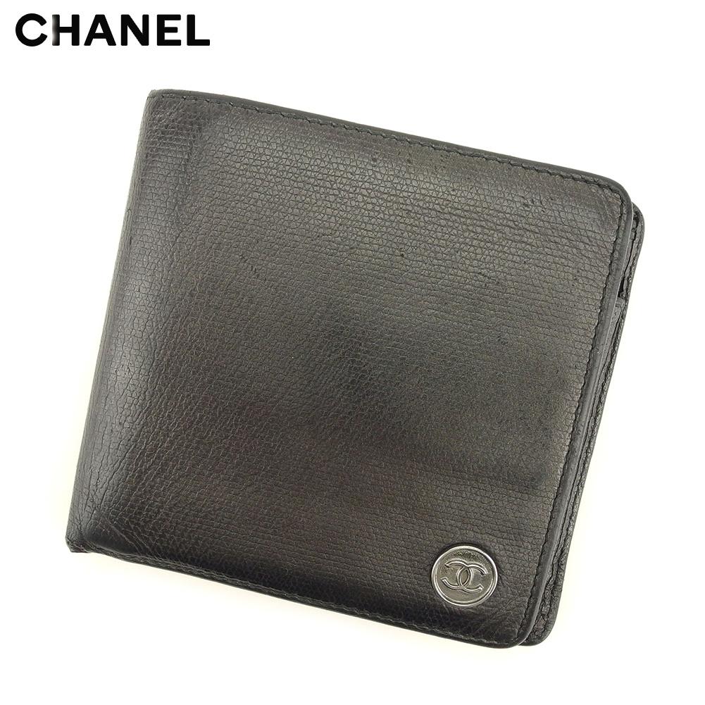 c121d9ef38d9 【中古】 シャネル CHANEL 二つ折り 財布 レディース メンズ ココボタン ブラック レザー ヴィンテージ 人気