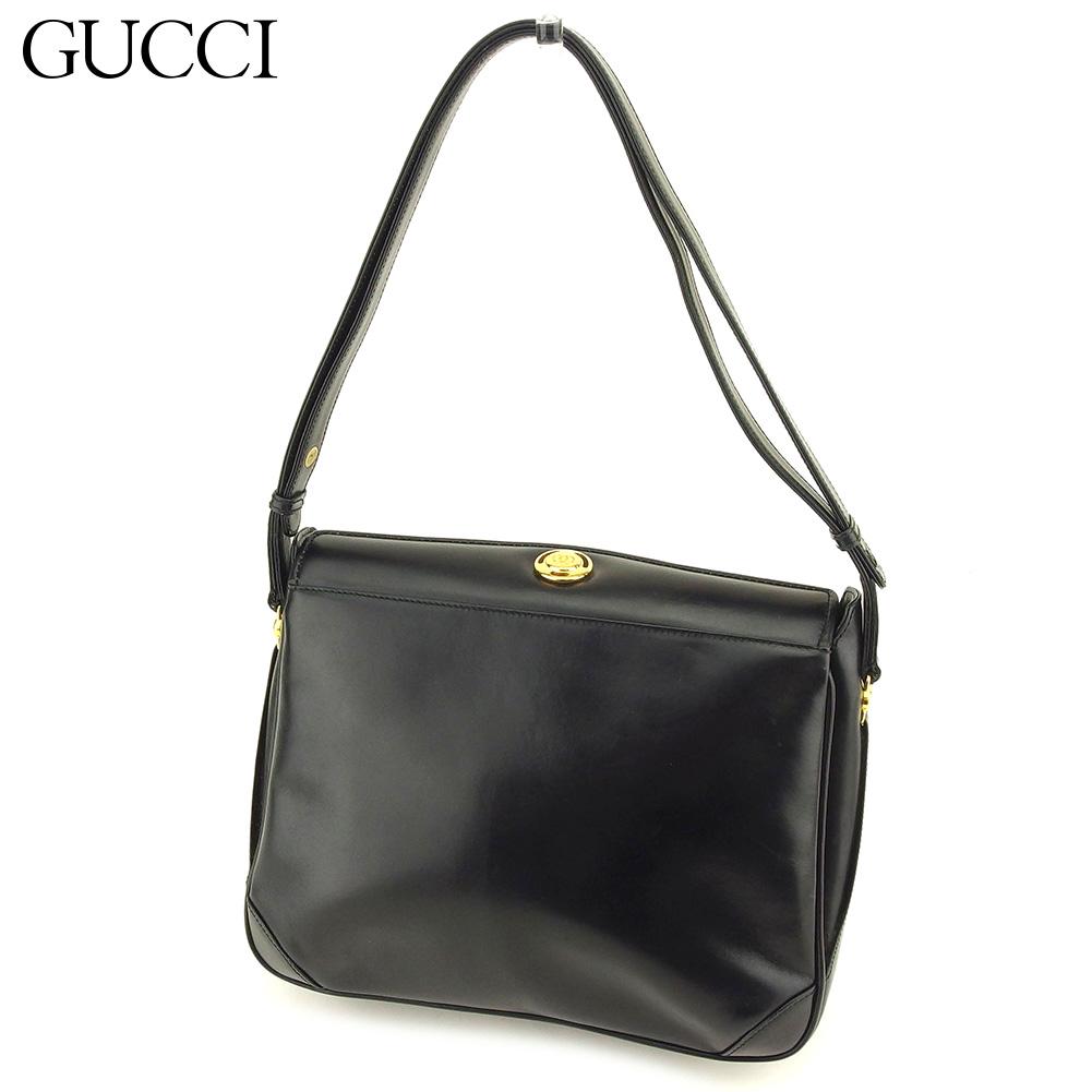 db3911498e93e9 Gucci Gucci shoulder bag one shoulder Lady's black leather vintage  popularity T9066
