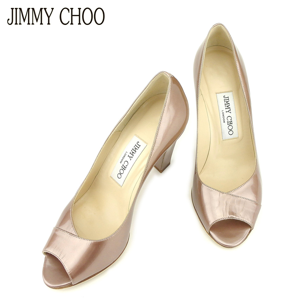 3dad6fe9679 ジミーチュウ JIMMY CHOO pumps shoes shoes Lady s  36 pink beige enamel leather  popularity sale G1344.