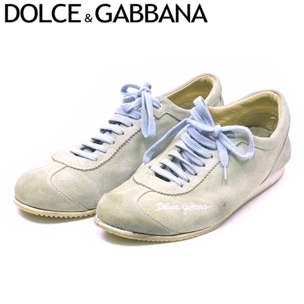 【中古】 ドルチェ&ガッバーナ DOLCE&GABBANA スニーカー シューズ 靴 メンズ ♯6 ドルガバ ローカット ロゴ刺繍 グリーン ブルー スエード 人気 セール R1324 .