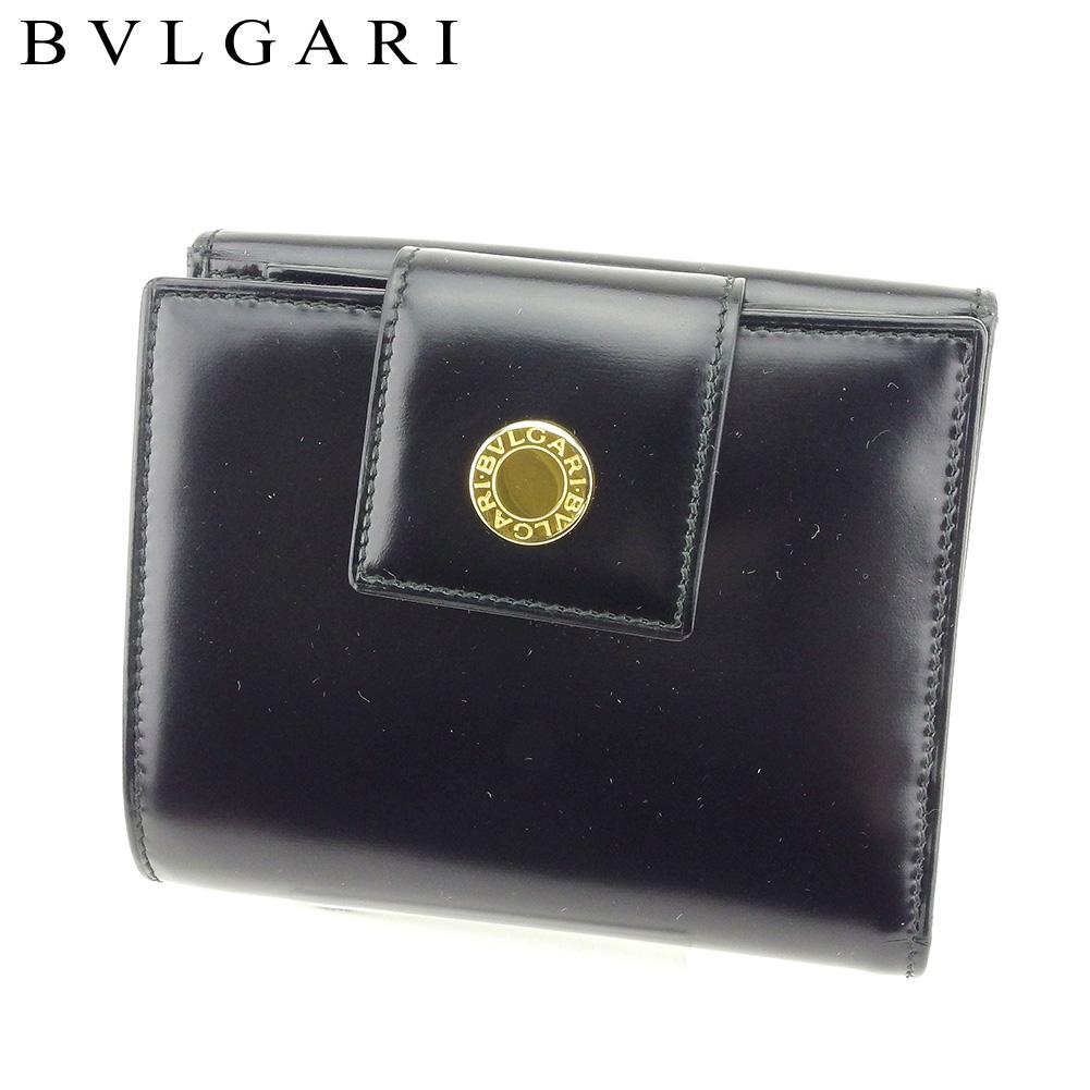 【中古】 ブルガリ BVLGARI Wホック 財布 二つ折り 財布 レディース メンズ ブルガリブルガリ ブラック レザー 未使用品 セール T9164 .