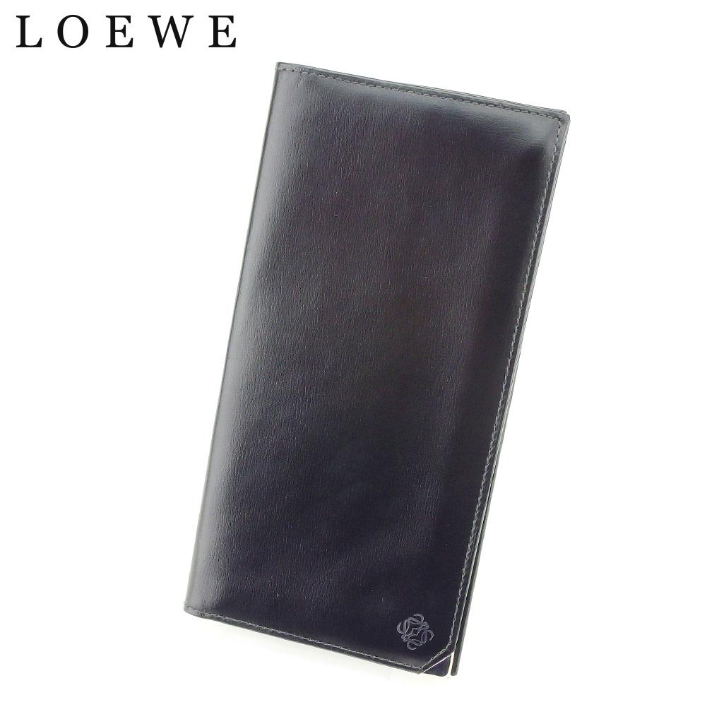 夏 プレゼント 中古 ロエベ 長札入れ 長財布 LOEWE ブラック アナグラム 新入荷 定価の67%OFF 流行 T9214 レザー