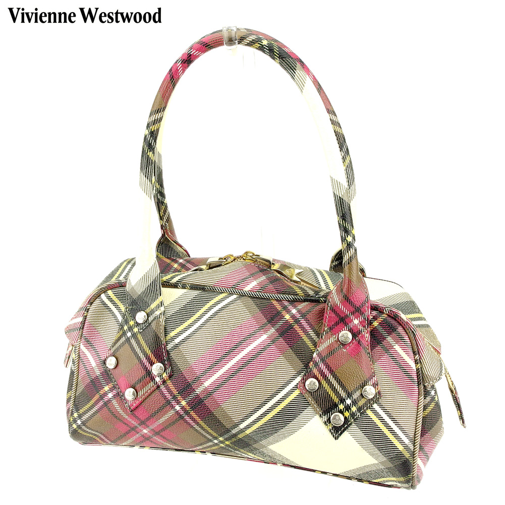 【中古】 ヴィヴィアン ウエストウッド Vivienne Westwood ショルダーバッグ ミニボストンバッグ レディース オーブ ホワイト 白 ピンク ブラック PVC×レザー 人気 セール A1833