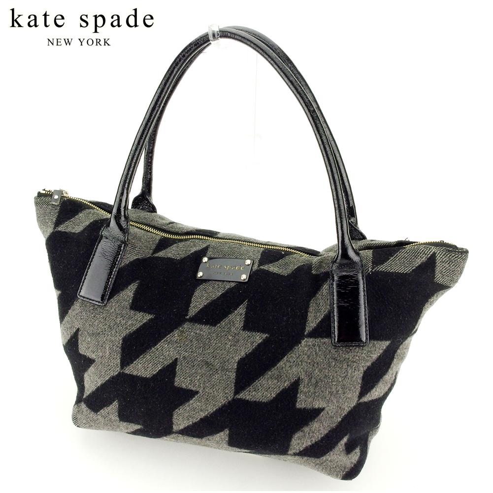 【中古】 ケイト スペード kate spade トートバッグ ワンショルダー レディース メンズ  ブラック グレー 灰色 エナメルレザー×フェルト 人気 セール A1843