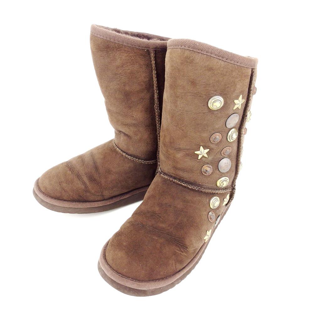 【中古】 ラグゼ LUXE ムートンブーツ シューズ 靴 レディース #24 ビス付き ブラウン スエード×ムートン 人気 セール A1851