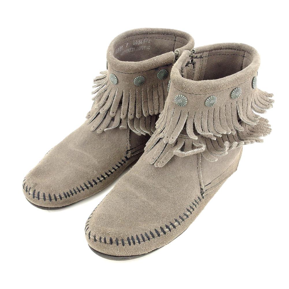 【中古】 ミネトンカ MINNETONKA ショートブーツ  シューズ 靴 レディース #7 フリンジ グレー 灰色 スエード 人気 セール A1852