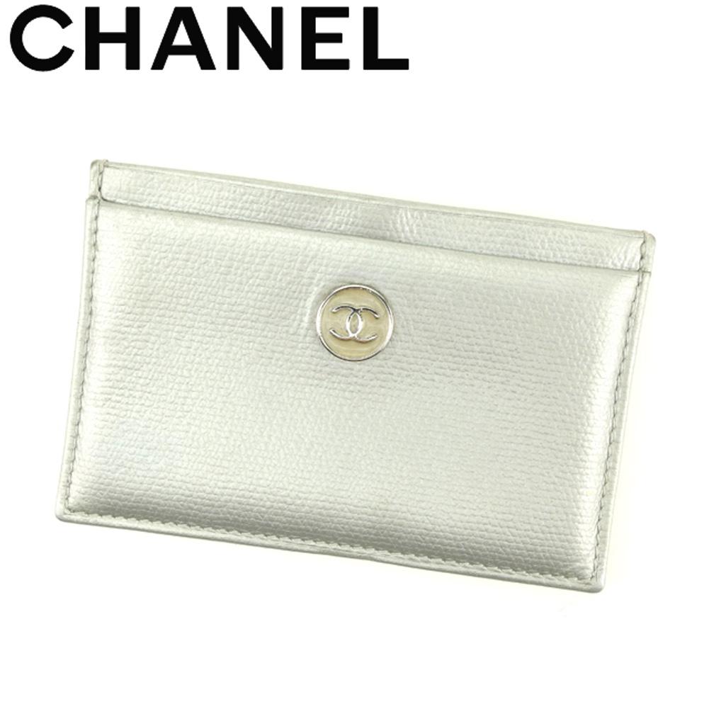 【中古】 シャネル CHANEL カードケース 名刺入れ パスケース レディース メンズ オールドシャネル ココボタン シルバー レザー 美品 セール C3538