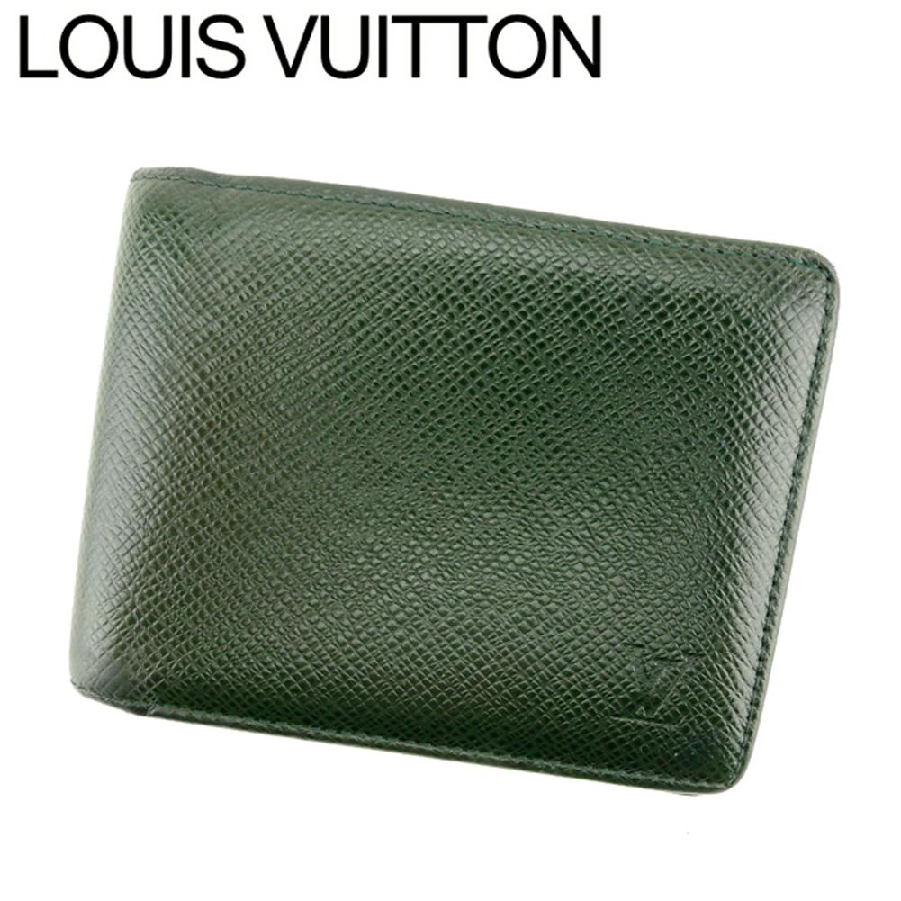 【中古】 ルイ ヴィトン Louis Vuitton 二つ折り 札入れ メンズ ポルトビエ6カルトクレディ タイガ グリーン タイガレザー 訳あり セール C3550