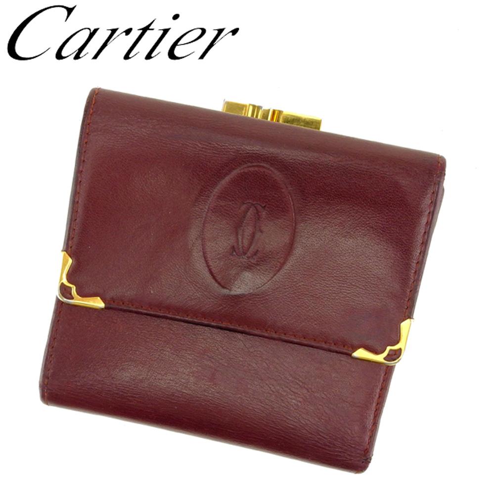 【中古】 カルティエ Cartier がま口 財布 三つ折り レディース メンズ マストライン ボルドー ゴールド レザー 人気 セール F1425