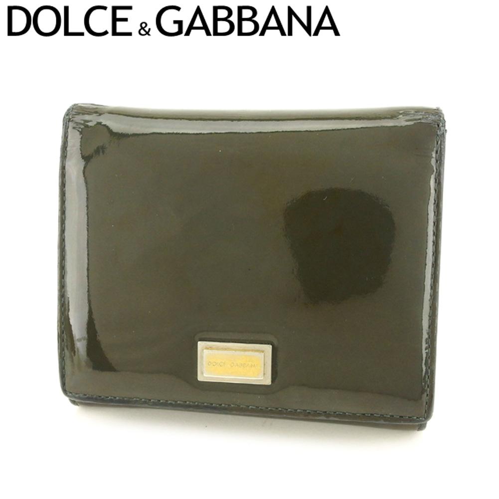 【中古】 ドルチェ&ガッバーナ DOLCE&GABBANA 三つ折り 財布 レディース メンズ ドルガバ ロゴプレート グリーン ブラック エナメルレザー 人気 セール F1448