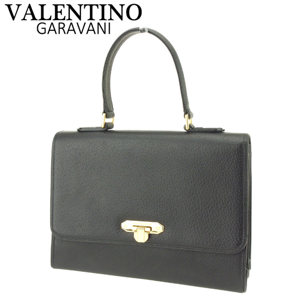 7ae068f4380 Sale F1454 which there is Valentino Garavani VALENTINO GARAVANI handbag bag  lady logo plate black gold ...