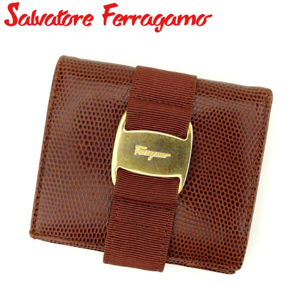 【中古】 サルヴァトーレ フェラガモ Salvatore Ferragamo 二つ折り 財布 レディース リザード調 ヴァラ ブラウン ゴールド 型押しレザー 訳あり セール F1458