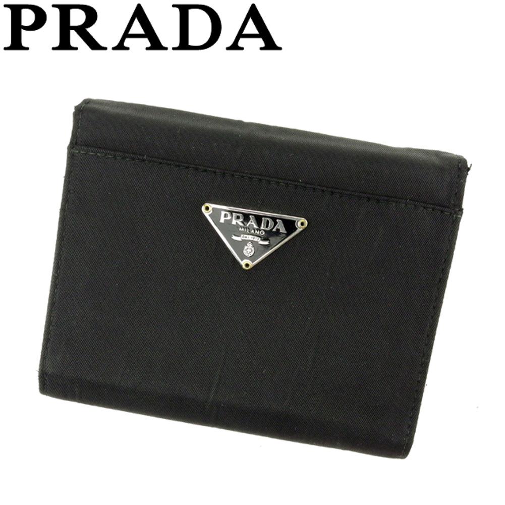 【中古】 プラダ PRADA 三つ折り 財布 レディース メンズ トライアングルロゴ ブラック シルバー ゴールド ナイロンキャンバス 人気 セール F1469