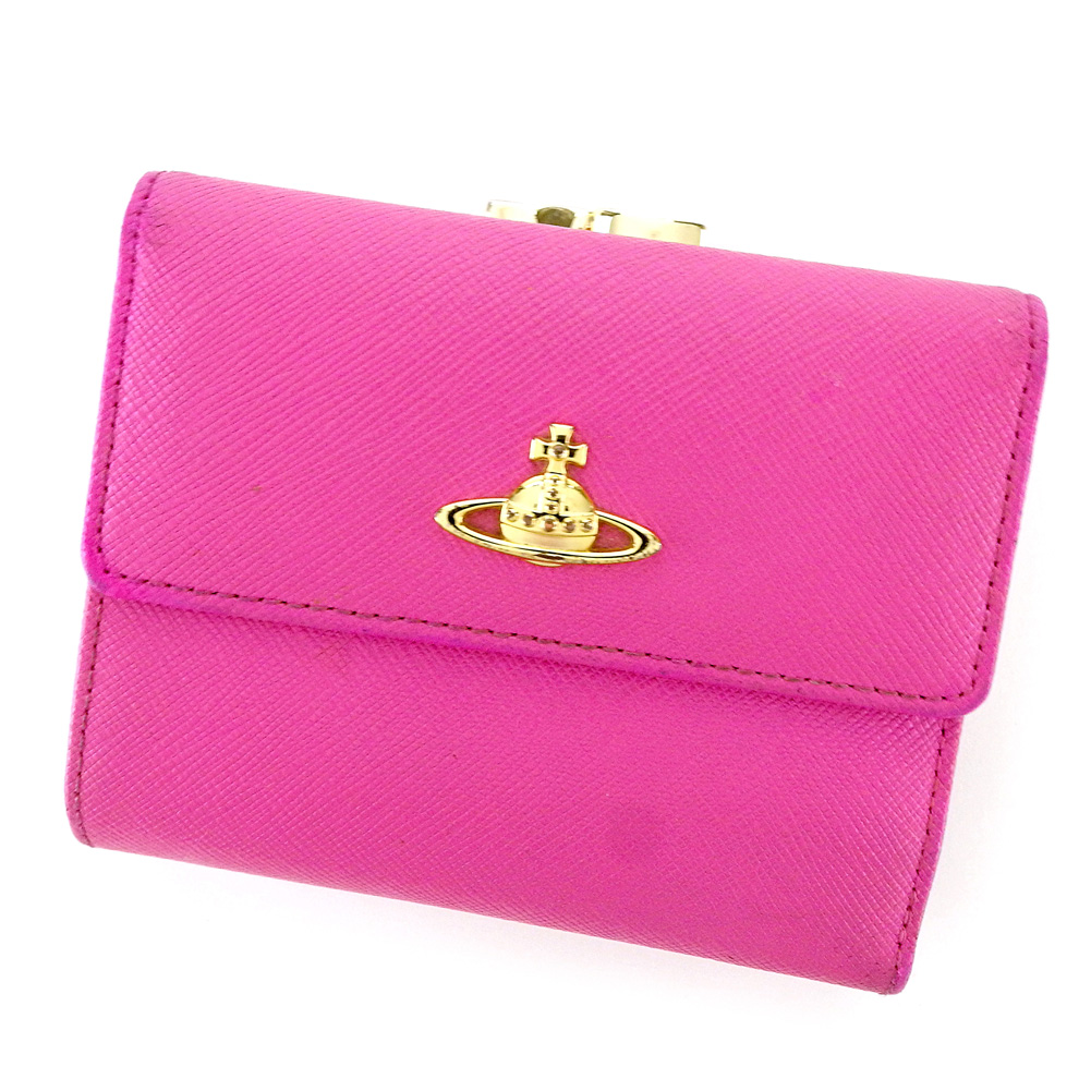 【中古】 ヴィヴィアン ウエストウッド Vivienne Westwood がま口 財布 三つ折り 財布 レディース オーブ ピンク レザー 人気 セール L2615