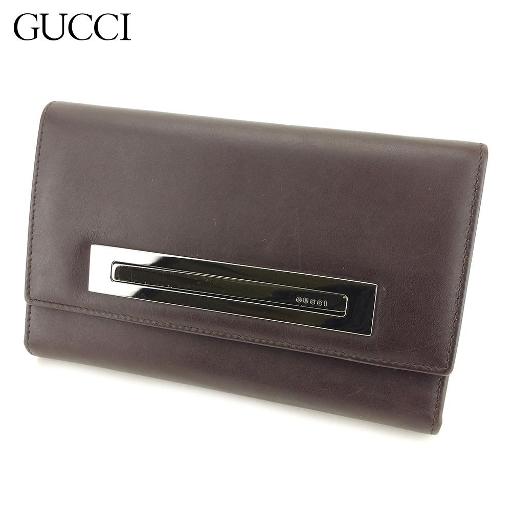 【中古】 グッチ GUCCI 三つ折り 財布 財布 レディース メンズ  ブラウン レザー 人気 良品 L2643
