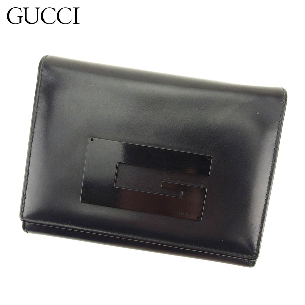 【中古】 グッチ GUCCI 三つ折り 財布 財布 レディース  ブラック レザー 人気 良品 L2644