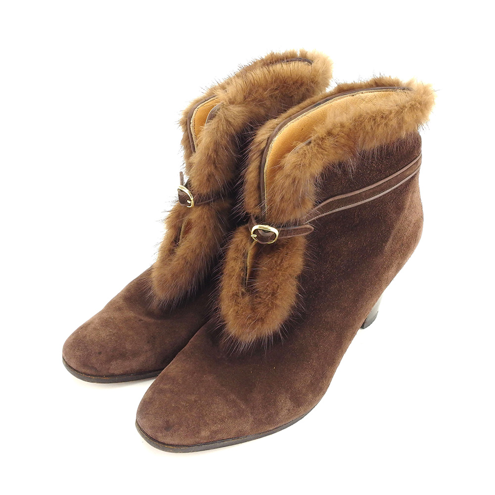bd6492bffc62 アテストーニ a.testoni boots shoes shoes Lady s  36 half brown suede X fur  popularity sale L2649