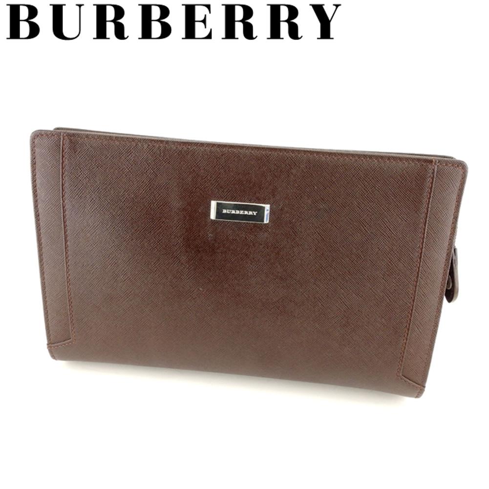 【中古】 バーバリー BURBERRY クラッチバッグ セカンドバッグ レディース メンズ  ブラウン レザー 人気 良品 L2691