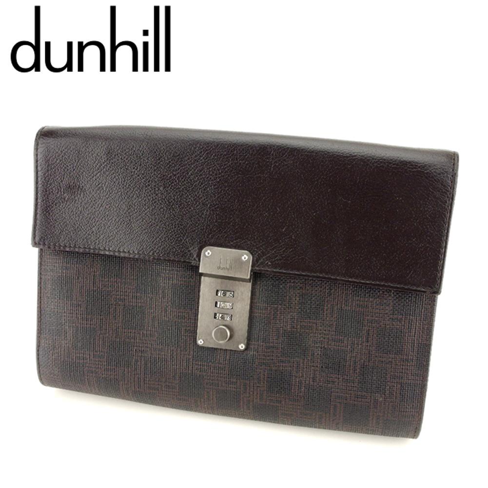 【中古】 ダンヒル dunhill クラッチバッグ セカンドバッグ メンズ  ブラウン ブラック PVC×レザー 人気 良品 L2694