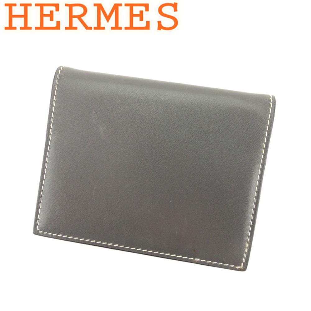 【中古】 エルメス HERMES 手帳カバー カードケース レディース ミニアジェンダ グレー 灰色 レザー 人気 セール L2701