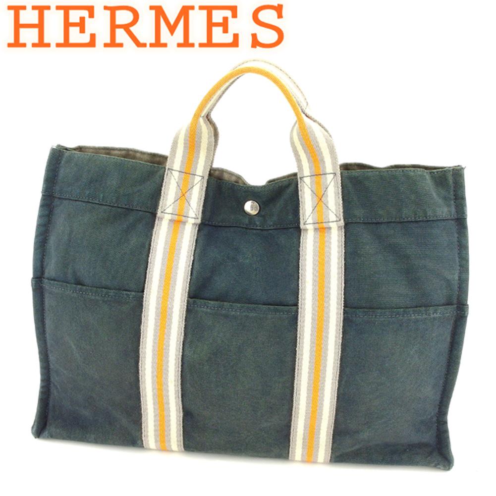 【中古】 エルメス HERMES トートバッグ ハンドバッグ レディース メンズ フールトゥトートMM フールトゥ グレー 灰色 オレンジ ベージュ 綿100% 人気 セール L2703