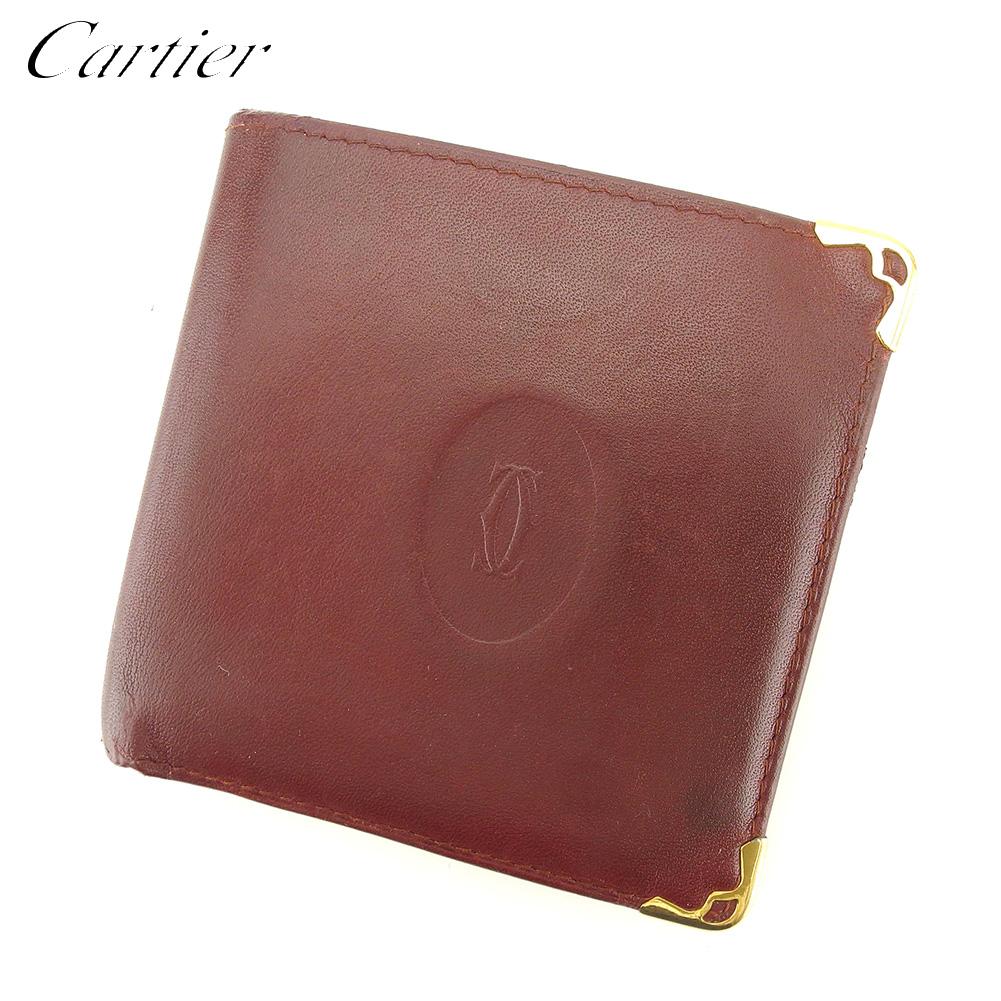 【中古】 カルティエ Cartier 二つ折り 財布 財布 レディース メンズ マストライン ボルドー レザー 人気 セール L2719