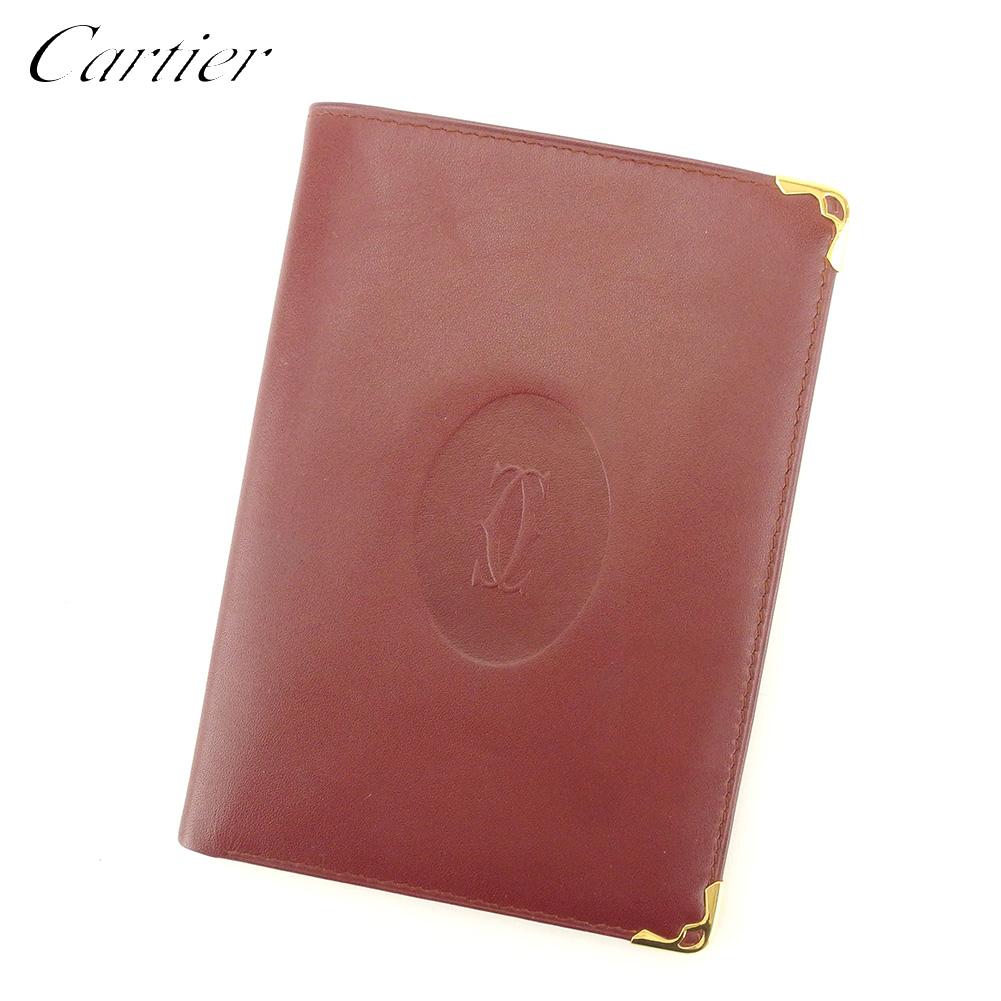 【中古】 カルティエ Cartier 二つ折り 札入れ トラベル レディース メンズ マストライン ボルドー レザー 人気 セール L2722