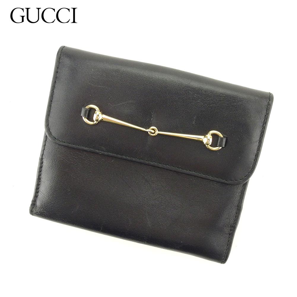 【中古】 グッチ GUCCI Wホック 財布 二つ折り 財布 レディース メンズ ホースビット ブラック レザー 人気 セール L2726