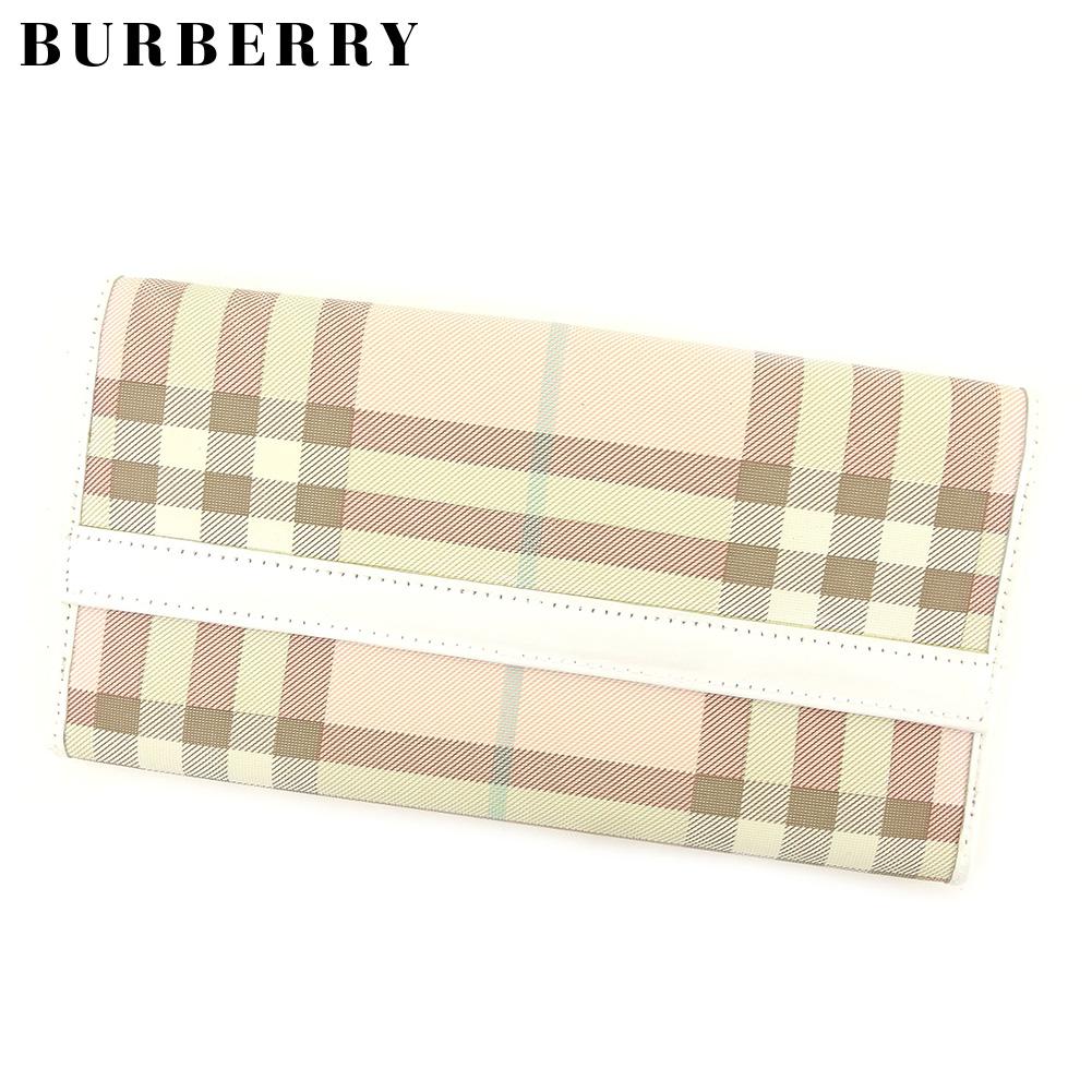 【中古】 バーバリー BURBERRY 長財布 Wホック レディース メンズ ノバチェック ホワイト 白 ピンク ベージュ PVC×レザー 人気 良品 L2727