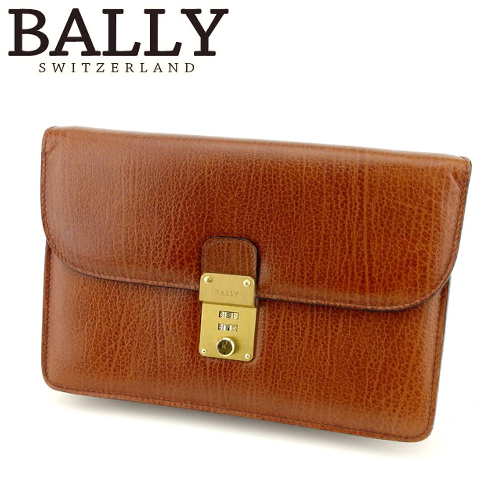 【中古】 バリー BALLY クラッチバッグ セカンドバッグ レディース メンズ ロゴプレート ブラウン ゴールド レザー 美品 セール Q562