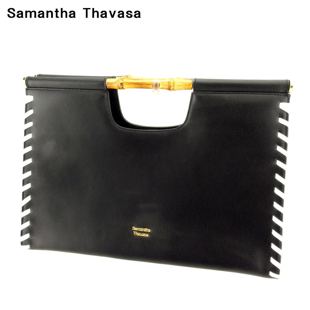 【中古】 サマンサタバサ ハンドバッグ バッグ ブラック ホワイト 白 レザー Samantha Thavasa バック 手持ちバッグ ファッション ブランド ブランドバッグ 収納 人気 贈り物 迅速発送 在庫処分 男性 女性 良品 春 1点物 【送料無料】 Q574