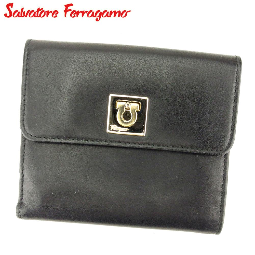 【中古】 サルヴァトーレ フェラガモ Salvatore Ferragamo Wホック 財布 二つ折り 財布 レディース メンズ ガンチーニ ブラック レザー 人気 良品 Q576