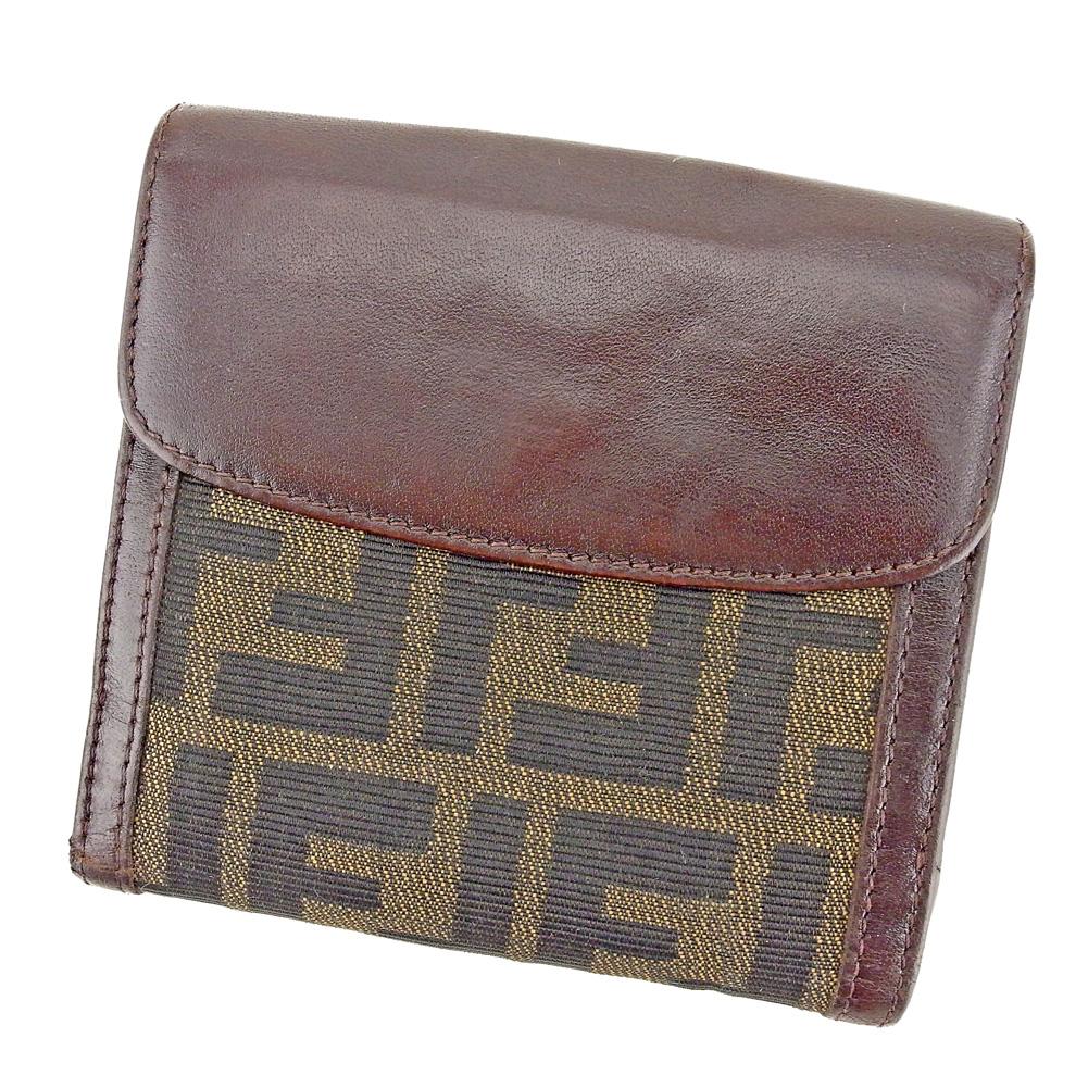 【中古】 フェンディ FENDI Wホック 財布 二つ折り 財布 レディース メンズ ズッカ ブラウン ベージュ ブラック キャンバス×レザー 人気 セール T8827