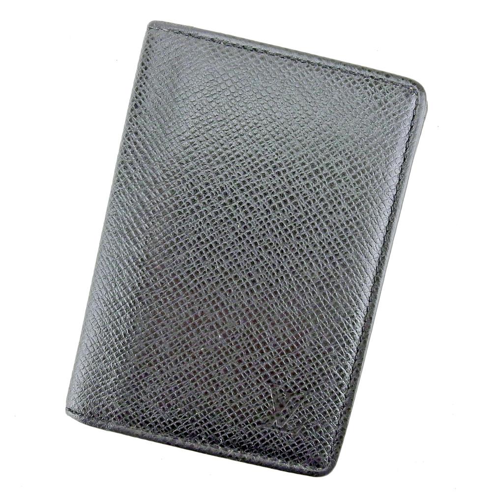 【中古】 ルイ ヴィトン LOUIS VUITTON カードケース 名刺入れ メンズ オーガナイザードゥポッシュ タイガ ブラック タイガレザ- 人気 セール T8829