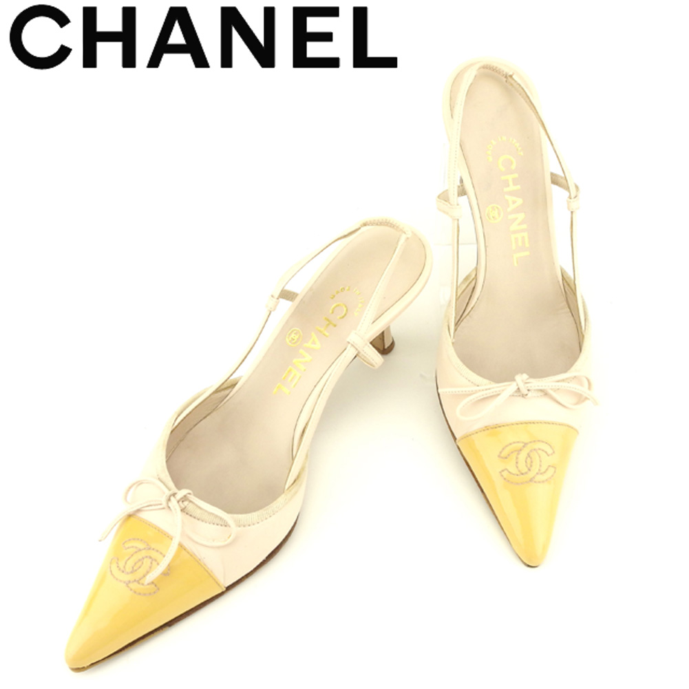5272b9ff5c Chanel CHANEL pumps shoes shoes Lady's ♯ 36 half pointed toe here mark pink  beige leather ...