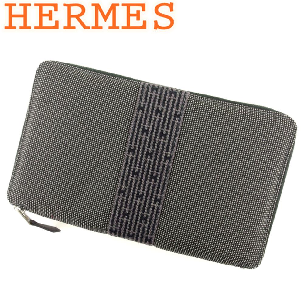 【中古】 エルメス HERMES 長財布 ラウンドファスナー レディース メンズ パースGM エールライン ブラック グレー 灰色 綿100% 美品 セール T9254
