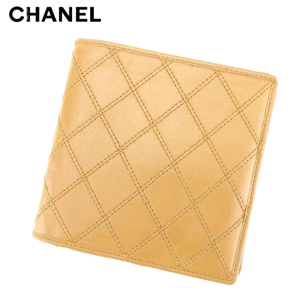 【中古】 シャネル CHANEL 二つ折り 財布 財布 レディース メンズ ビコローレ ベージュ レザー ヴィンテージ レア T9265