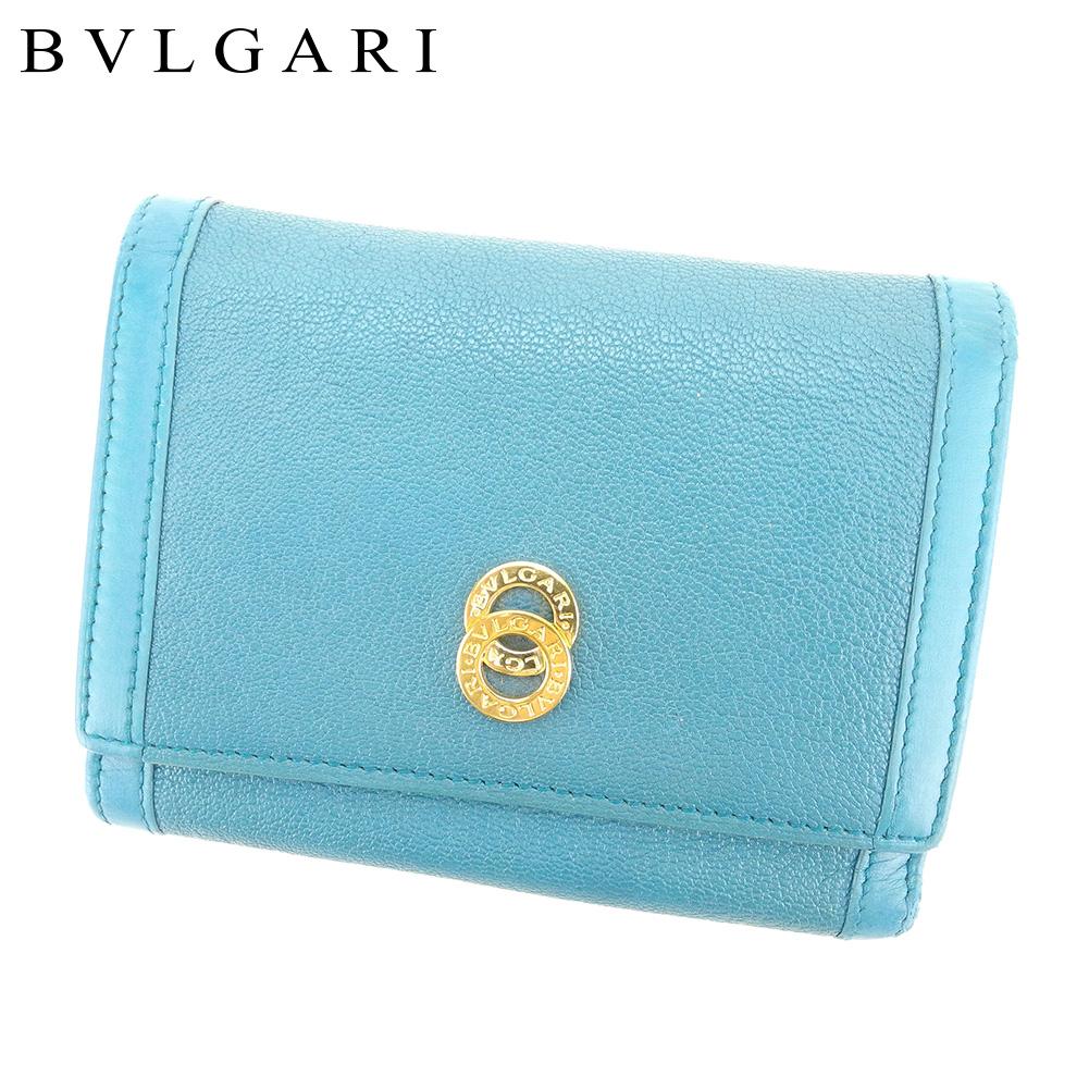 【中古】 ブルガリ BVLGARI 三つ折り 財布 二つ折り 財布 レディース メンズ ドッピオトンド ブルー レザー 人気 セール T9271