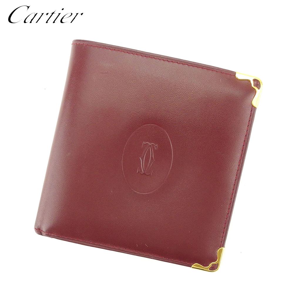 【中古】 カルティエ Cartier 二つ折り 財布 財布 レディース メンズ マストライン ボルドー レザー 美品 セール T9273