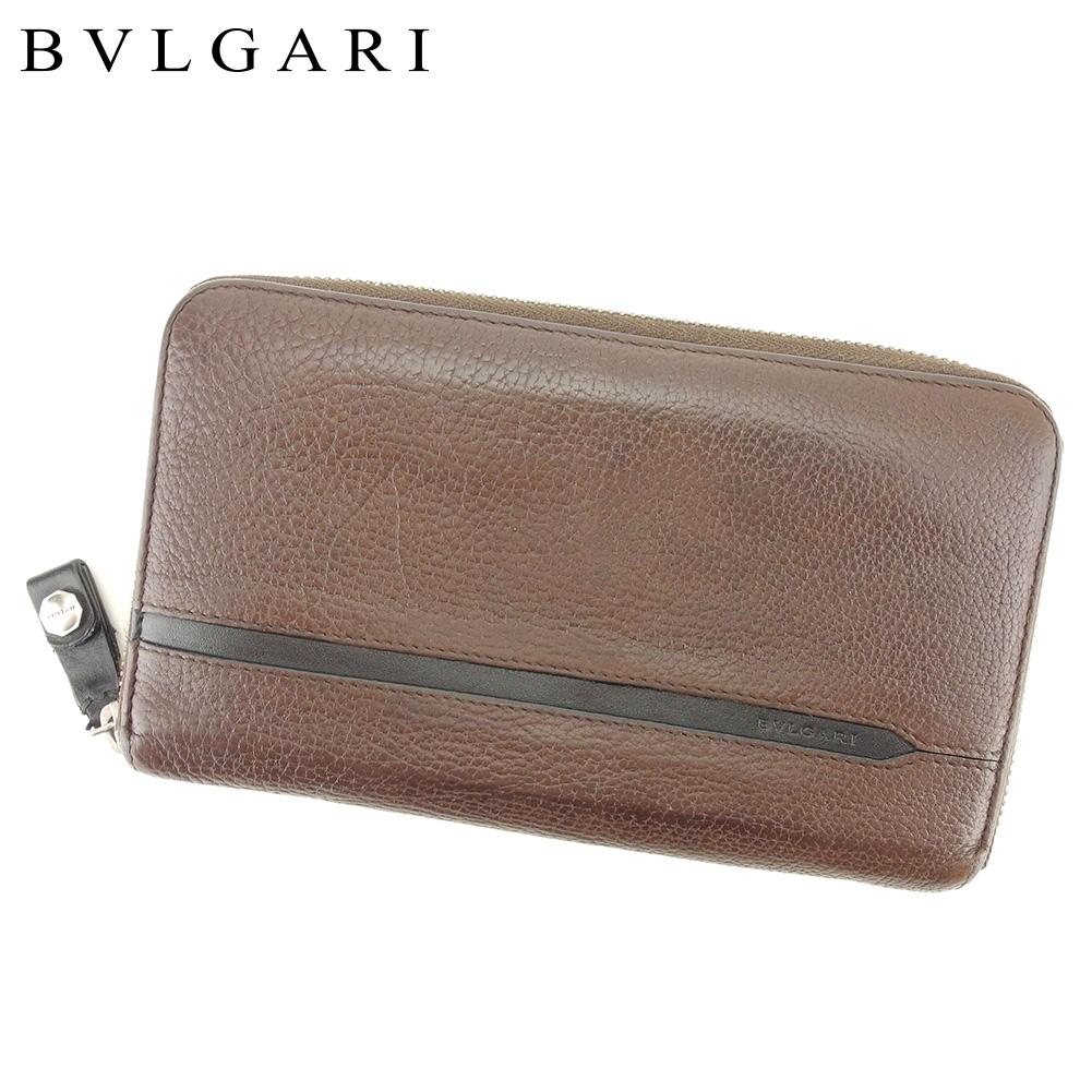 【中古】 ブルガリ BVLGARI 長財布 ラウンドファスナー レディース メンズ  ブラウン レザー 人気 セール T9288