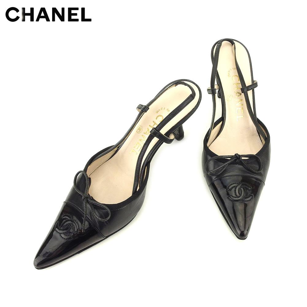パンプス セール CHANEL 靴 レディース 人気 シューズ ベージュ レザー C3536 . ブラック #37 シャネル 【中古】 バイカラー
