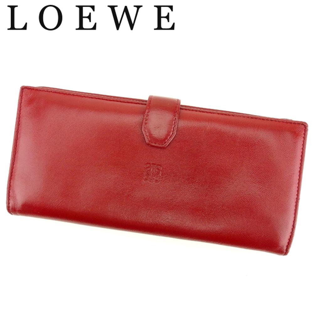 676bf8536254 【中古】 ロエベ LOEWE 長財布 ファスナー付き 財布 レディース メンズ アナグラム レッド レザー 美