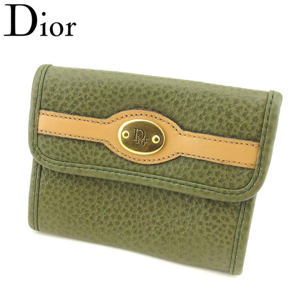 【中古】 ディオール Dior コインケース 小銭入れ レディース メンズ ロゴプレート グリーン ベージュ ゴールド レザー ヴィンテージ 美品 T9388