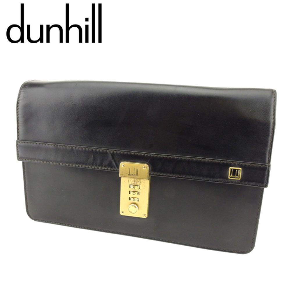 【中古】 ダンヒル dunhill クラッチバッグ セカンドバッグ メンズ ロゴプレート ブラック ゴールド レザー 人気 セール T9391