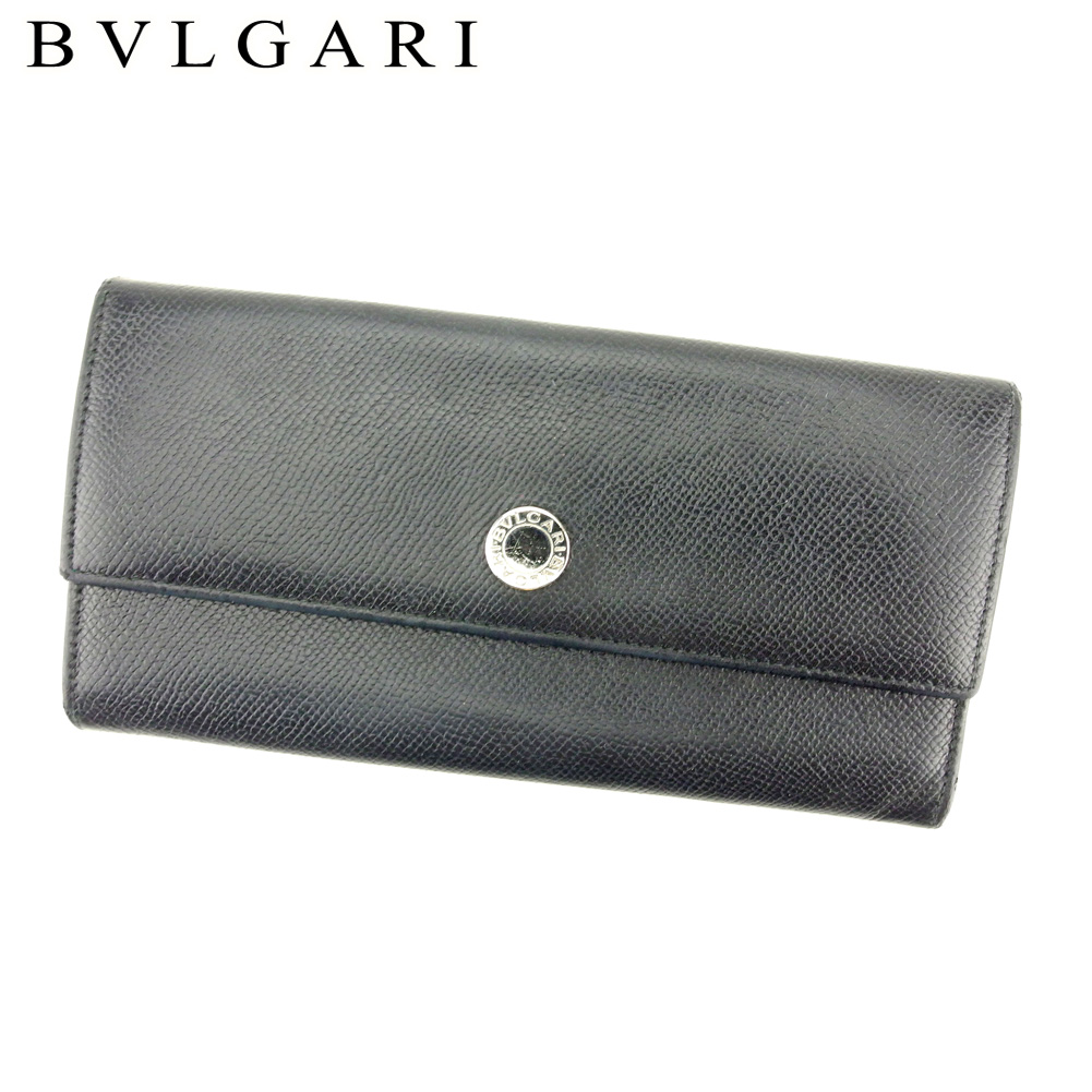夏 プレゼント 中古 ブルガリ 未使用 長財布 BVLGARI ファスナー付き ブラック セール 特集 レザー T9400
