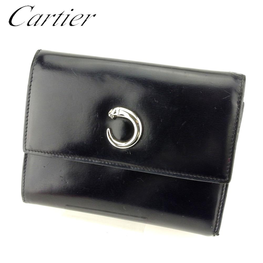 【中古】 カルティエ Cartier 三つ折り 財布 財布 レディース メンズ パンテール ブラック レザー 人気 セール T9404