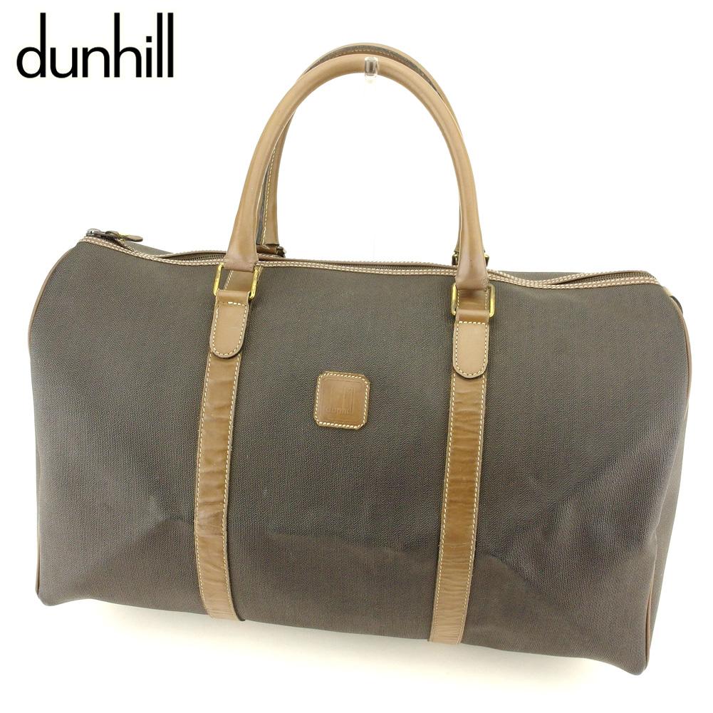 【中古】 ダンヒル dunhill ボストンバッグ 旅行用バッグ レディース メンズ  ブラウン ブラック PVC×レザー 人気 セール T9411
