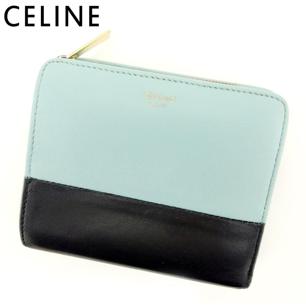 【中古】 セリーヌ Celine 二つ折り 財布 財布 レディース メンズ バイカラー ブルー ブラック レザー 人気 良品 T9413
